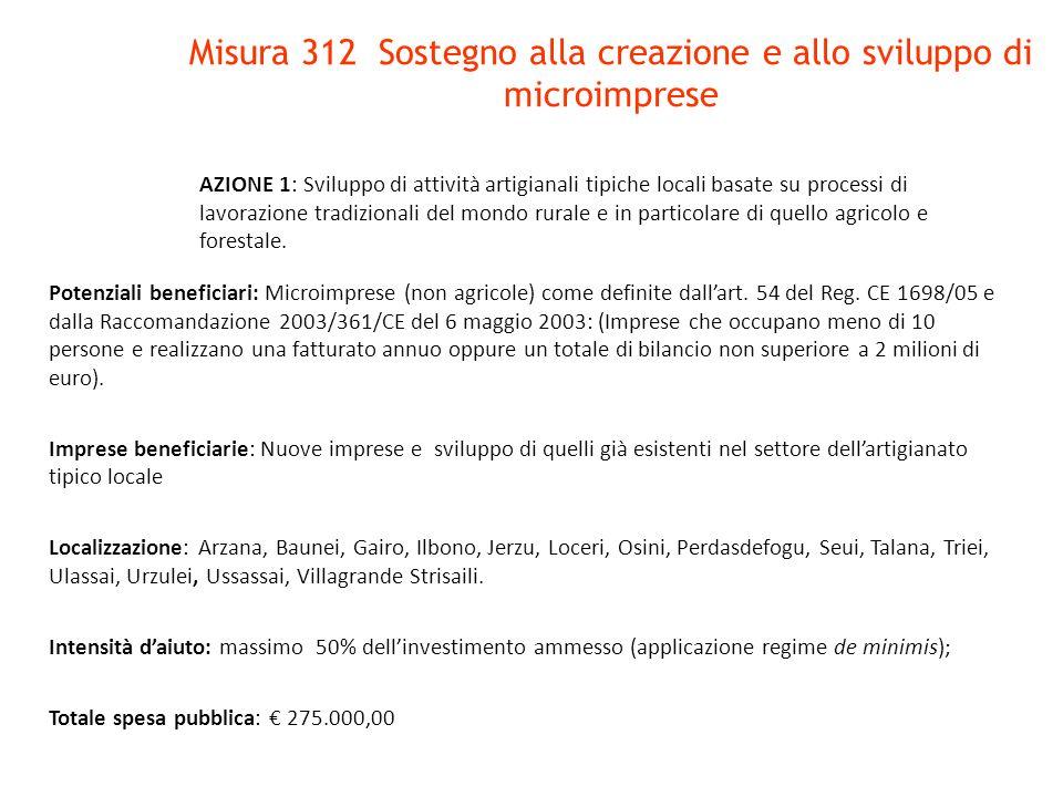Misura 312 Sostegno alla creazione e allo sviluppo di microimprese AZIONE 1: Sviluppo di attività artigianali tipiche locali basate su processi di lav