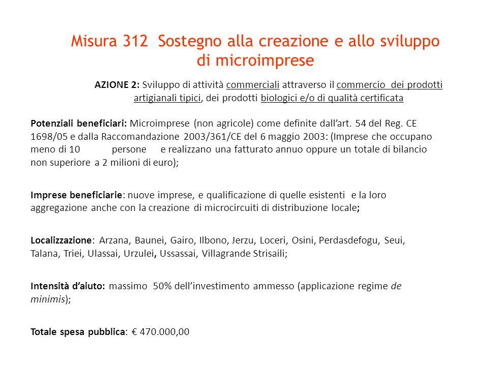 Misura 312 Sostegno alla creazione e allo sviluppo di microimprese Potenziali beneficiari: Microimprese (non agricole) come definite dallart. 54 del R