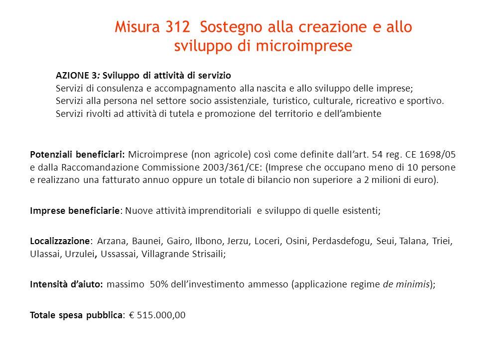 Misura 312 Sostegno alla creazione e allo sviluppo di microimprese Potenziali beneficiari: Microimprese (non agricole) così come definite dallart. 54