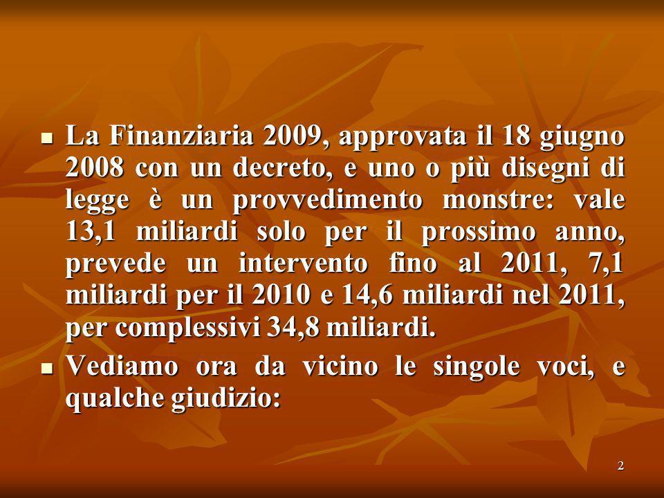 2 La Finanziaria 2009, approvata il 18 giugno 2008 con un decreto, e uno o più disegni di legge è un provvedimento monstre: vale 13,1 miliardi solo per il prossimo anno, prevede un intervento fino al 2011, 7,1 miliardi per il 2010 e 14,6 miliardi nel 2011, per complessivi 34,8 miliardi.