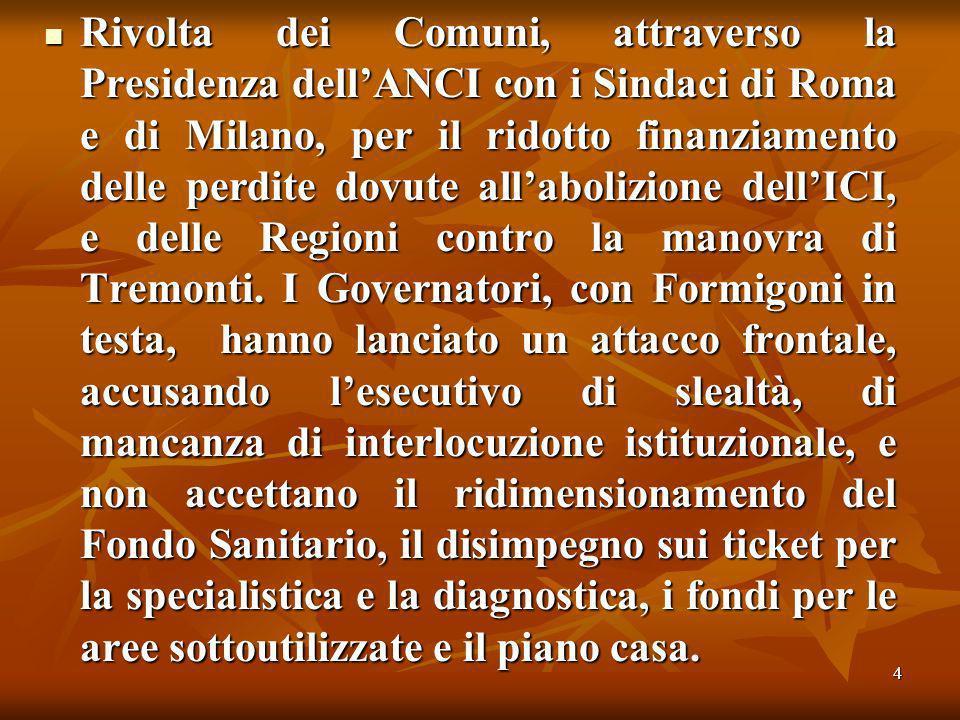 4 Rivolta dei Comuni, attraverso la Presidenza dellANCI con i Sindaci di Roma e di Milano, per il ridotto finanziamento delle perdite dovute allabolizione dellICI, e delle Regioni contro la manovra di Tremonti.