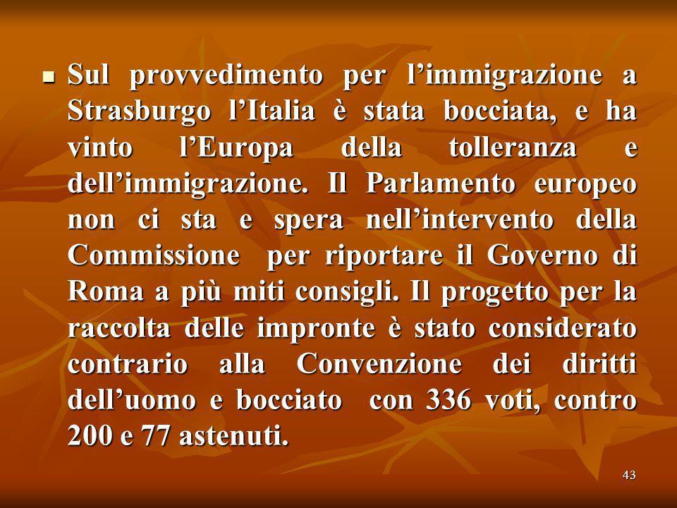 43 Sul provvedimento per limmigrazione a Strasburgo lItalia è stata bocciata, e ha vinto lEuropa della tolleranza e dellimmigrazione.