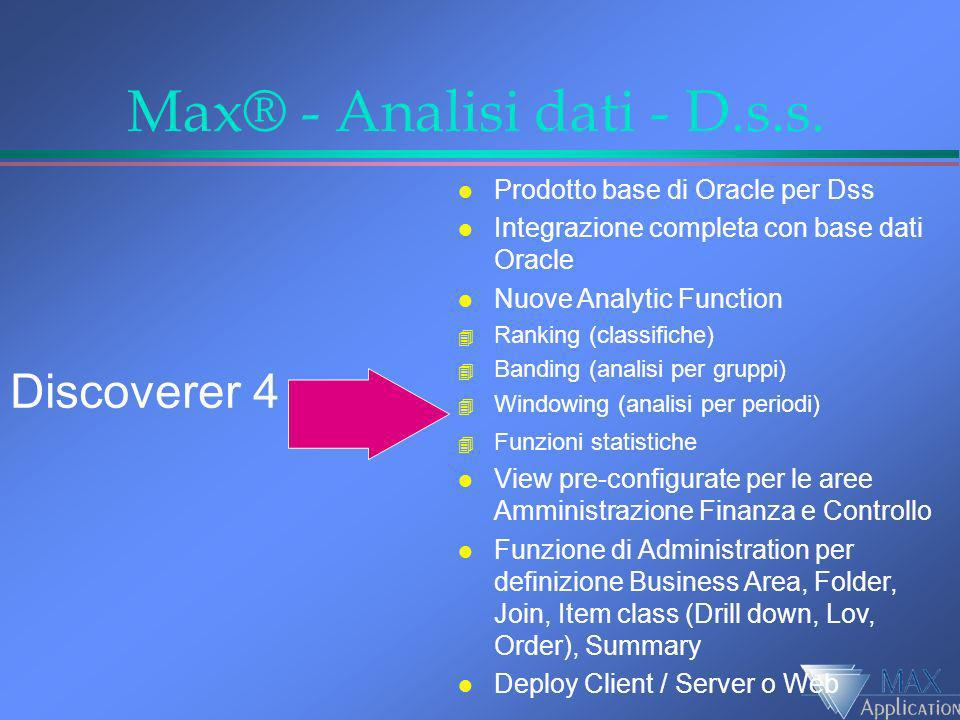 Max® - Analisi dati - D.s.s. l Prodotto base di Oracle per Dss l Integrazione completa con base dati Oracle l Nuove Analytic Function 4 Ranking (class