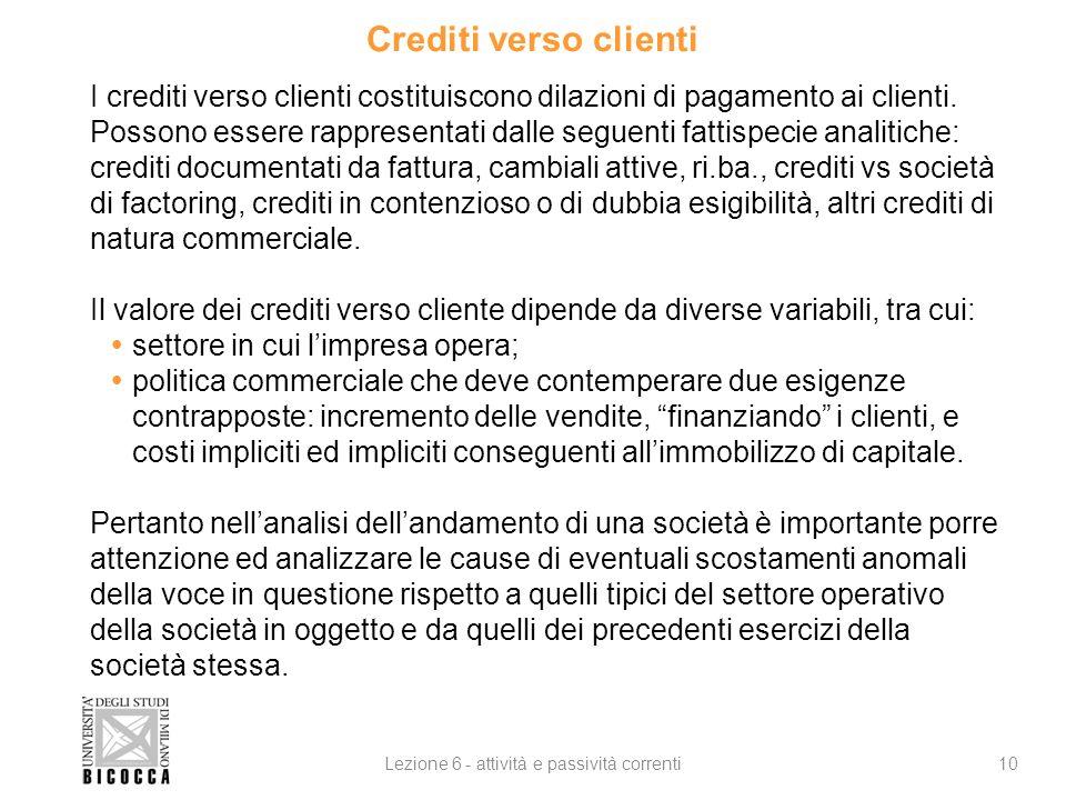 Crediti verso clienti 10Lezione 6 - attività e passività correnti I crediti verso clienti costituiscono dilazioni di pagamento ai clienti.