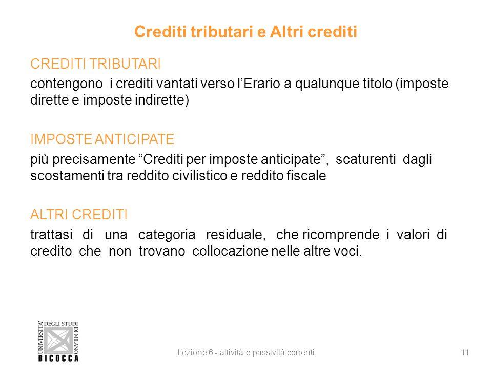 Crediti tributari e Altri crediti CREDITI TRIBUTARI contengono i crediti vantati verso lErario a qualunque titolo (imposte dirette e imposte indirette