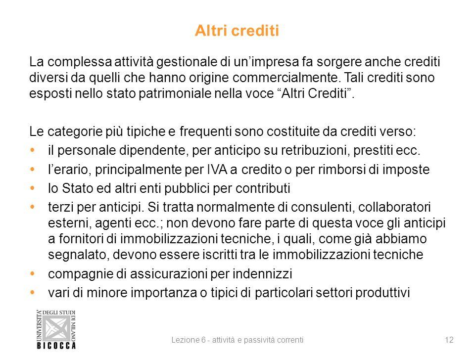 Altri crediti La complessa attività gestionale di unimpresa fa sorgere anche crediti diversi da quelli che hanno origine commercialmente. Tali crediti