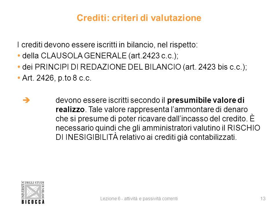 Crediti: criteri di valutazione I crediti devono essere iscritti in bilancio, nel rispetto: della CLAUSOLA GENERALE (art.2423 c.c.); dei PRINCIPI DI REDAZIONE DEL BILANCIO (art.