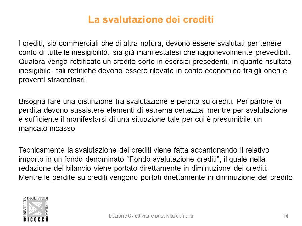La svalutazione dei crediti I crediti, sia commerciali che di altra natura, devono essere svalutati per tenere conto di tutte le inesigibilità, sia già manifestatesi che ragionevolmente prevedibili.