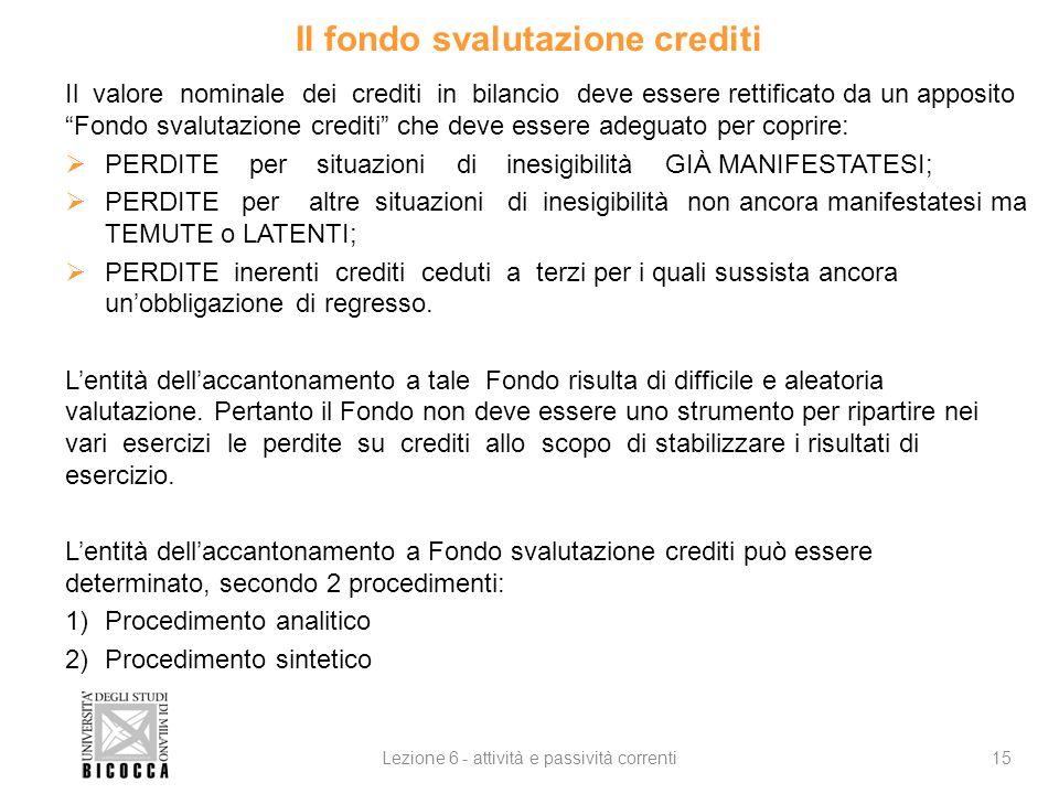 Il fondo svalutazione crediti Il valore nominale dei crediti in bilancio deve essere rettificato da un apposito Fondo svalutazione crediti che deve es