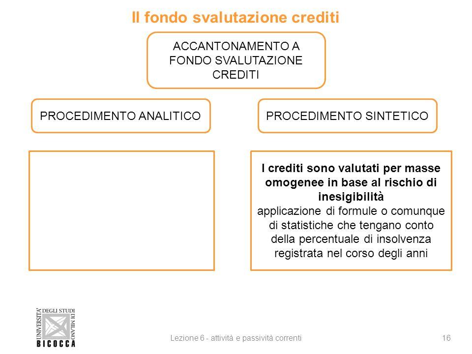Il fondo svalutazione crediti 16Lezione 6 - attività e passività correnti ACCANTONAMENTO A FONDO SVALUTAZIONE CREDITI PROCEDIMENTO ANALITICOPROCEDIMEN