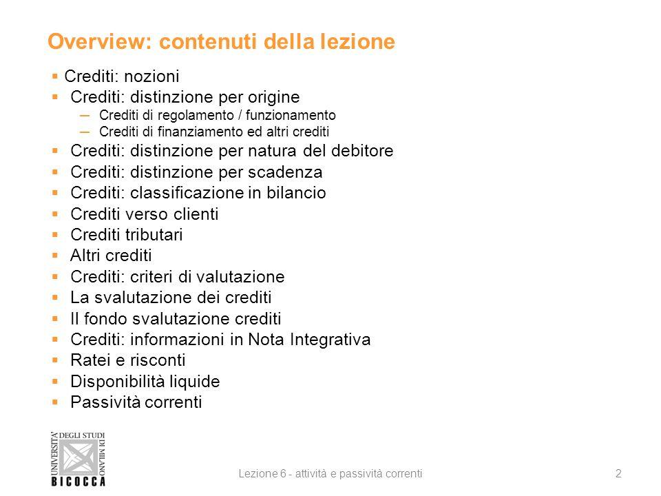Overview: contenuti della lezione Crediti: nozioni Crediti: distinzione per origine Crediti di regolamento / funzionamento Crediti di finanziamento ed
