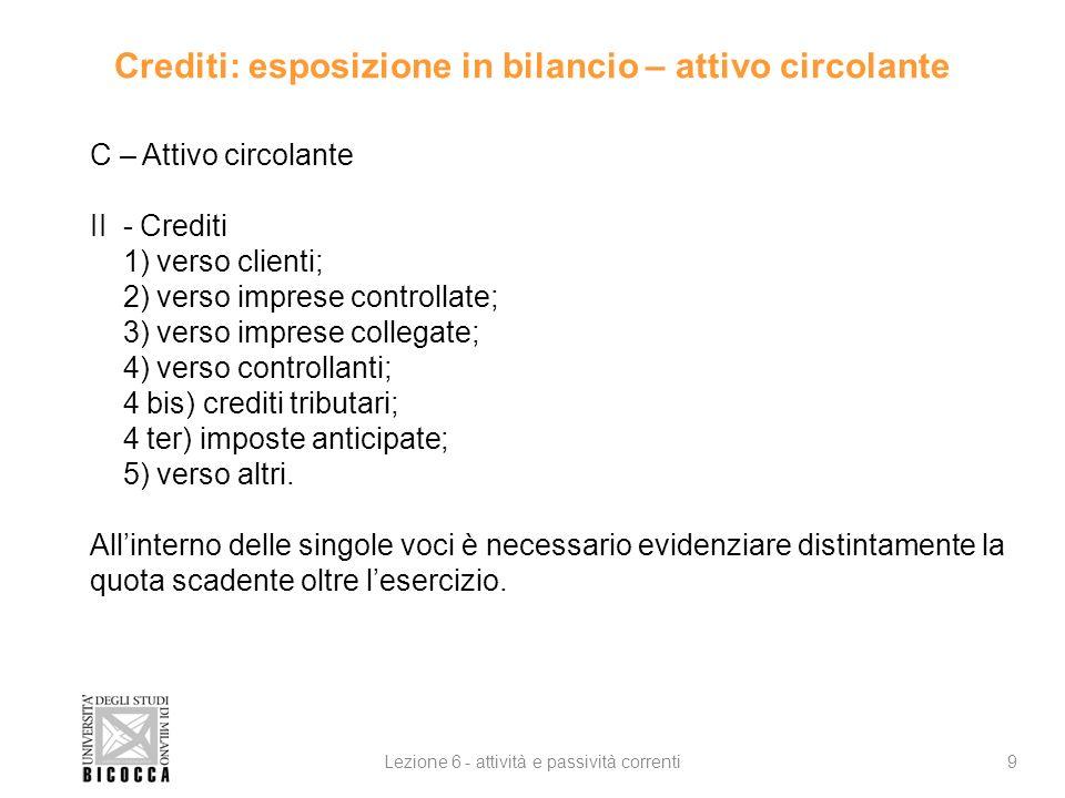 Crediti: esposizione in bilancio – attivo circolante 9Lezione 6 - attività e passività correnti C – Attivo circolante II - Crediti 1) verso clienti; 2