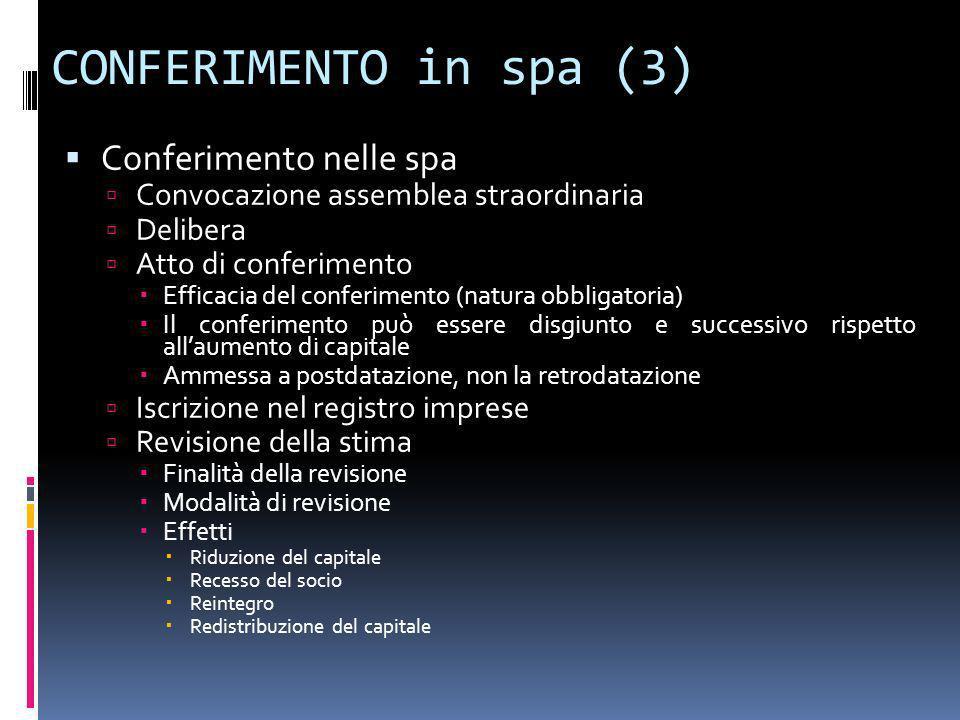 CONFERIMENTO in spa (3) Conferimento nelle spa Convocazione assemblea straordinaria Delibera Atto di conferimento Efficacia del conferimento (natura o