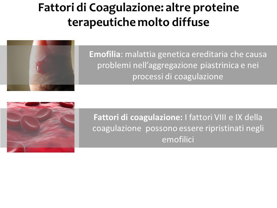 Fattori di Coagulazione: altre proteine terapeutiche molto diffuse Emofilia: malattia genetica ereditaria che causa problemi nellaggregazione piastrin