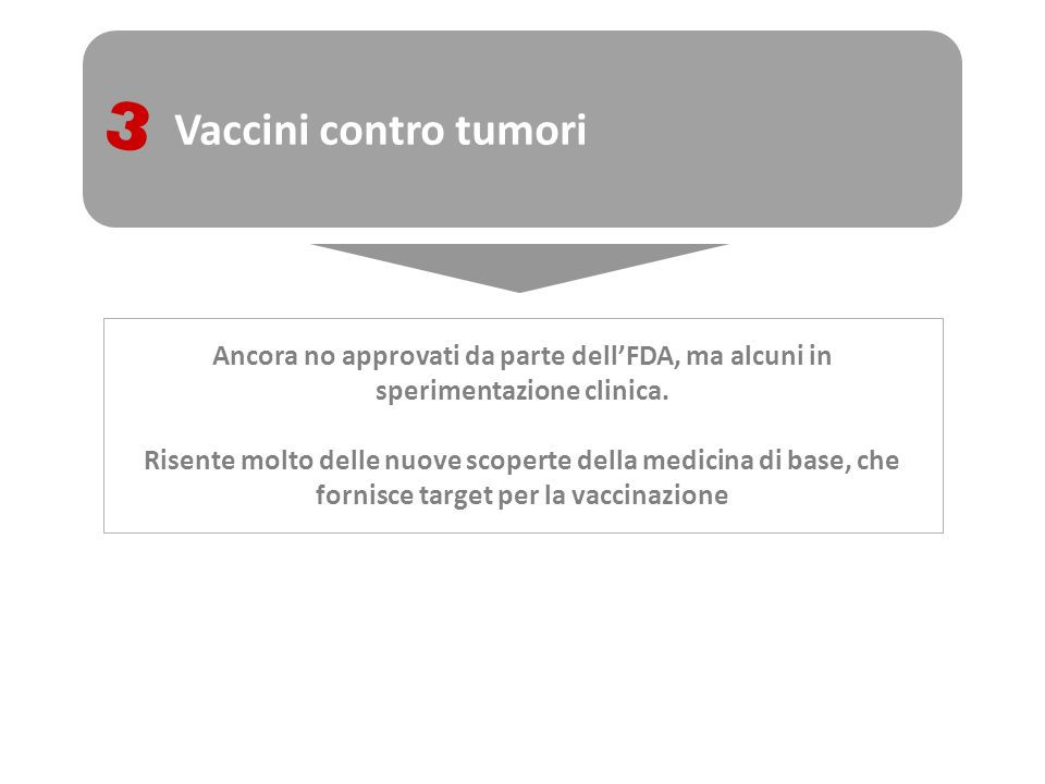 Vaccini contro tumori 3 Ancora no approvati da parte dellFDA, ma alcuni in sperimentazione clinica. Risente molto delle nuove scoperte della medicina