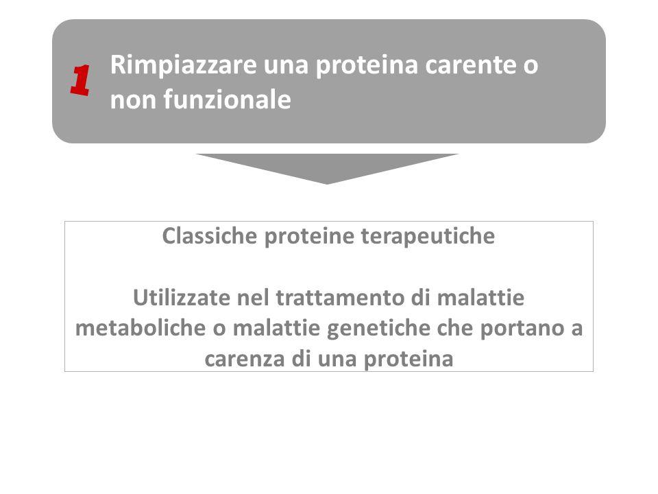 Rimpiazzare una proteina carente o non funzionale 1 Classiche proteine terapeutiche Utilizzate nel trattamento di malattie metaboliche o malattie gene