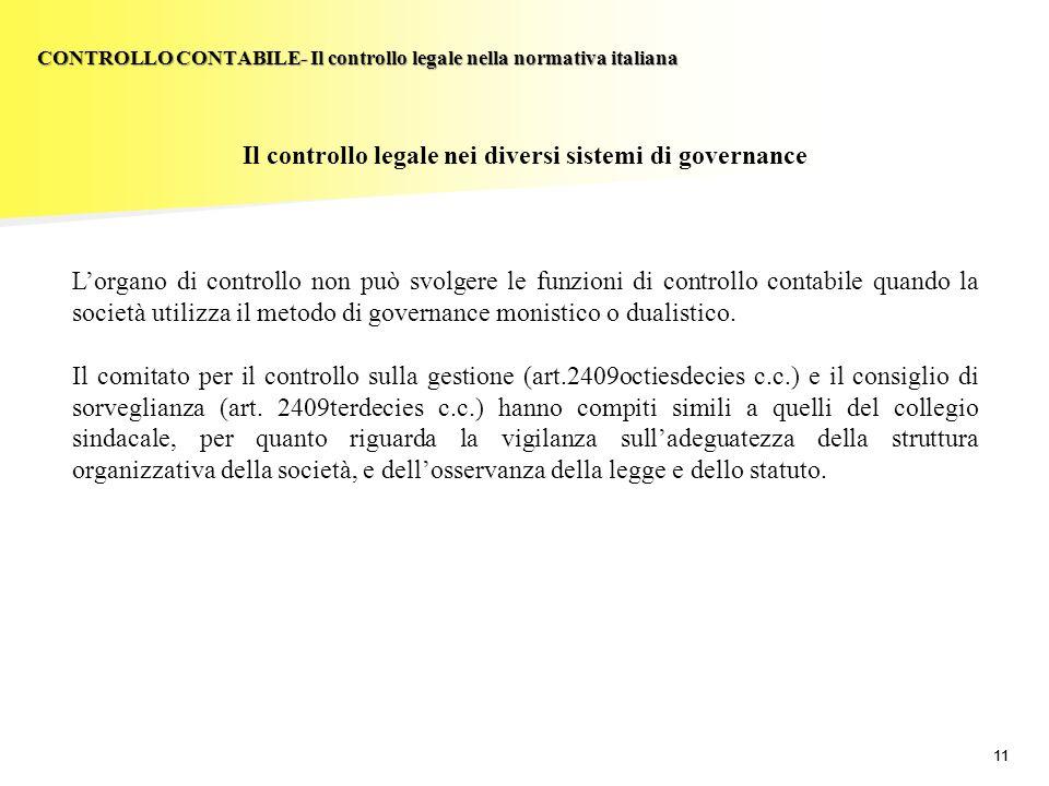 11 Il controllo legale nei diversi sistemi di governance Lorgano di controllo non può svolgere le funzioni di controllo contabile quando la società ut