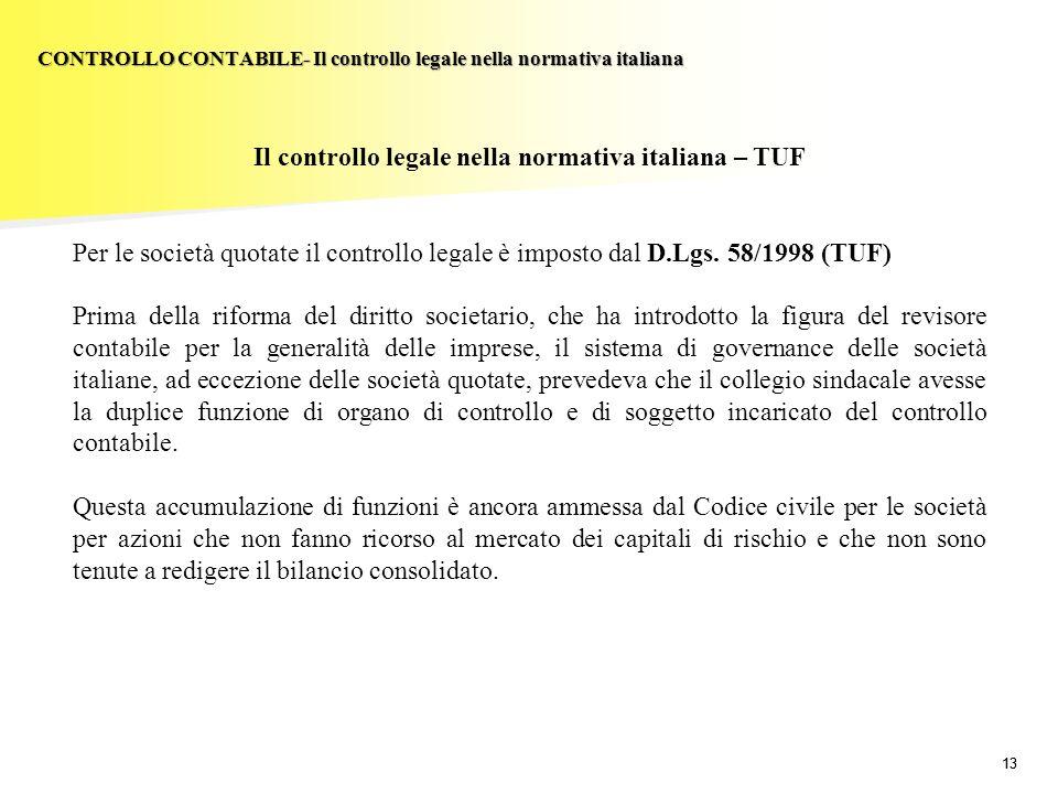 13 Il controllo legale nella normativa italiana – TUF Per le società quotate il controllo legale è imposto dal D.Lgs. 58/1998 (TUF) Prima della riform