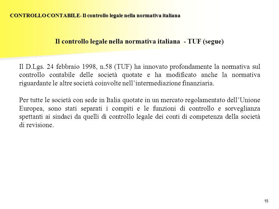 15 Il controllo legale nella normativa italiana - TUF (segue) Il D.Lgs. 24 febbraio 1998, n.58 (TUF) ha innovato profondamente la normativa sul contro