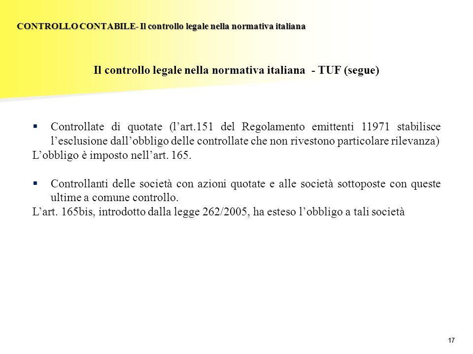 17 Il controllo legale nella normativa italiana - TUF (segue) Controllate di quotate (lart.151 del Regolamento emittenti 11971 stabilisce lesclusione