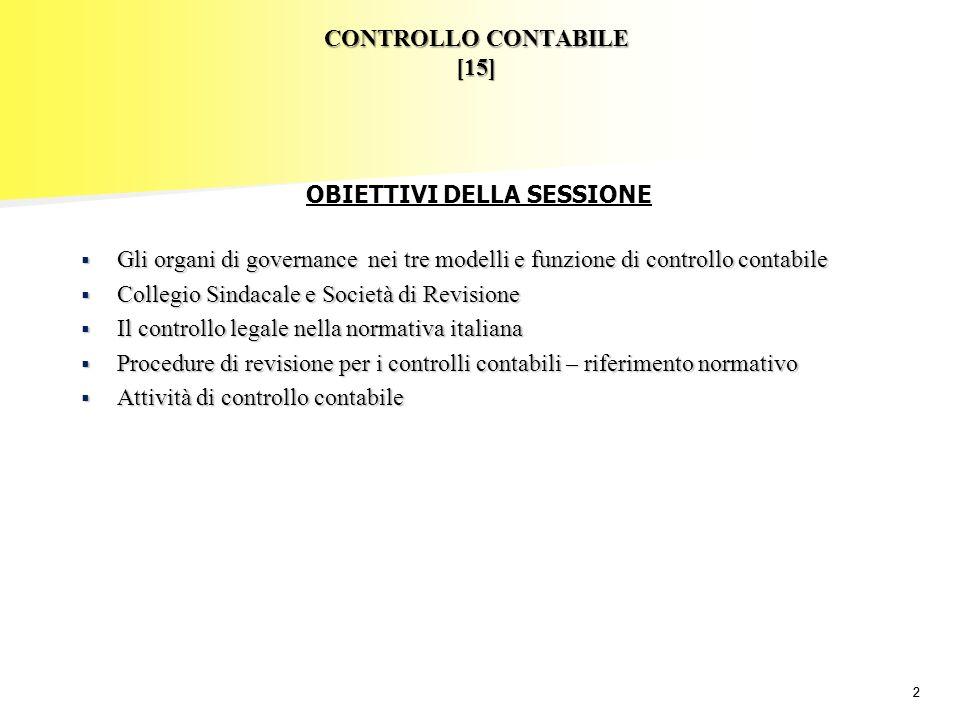 22 CONTROLLO CONTABILE [15] Gli organi di governance nei tre modelli e funzione di controllo contabile Gli organi di governance nei tre modelli e funz