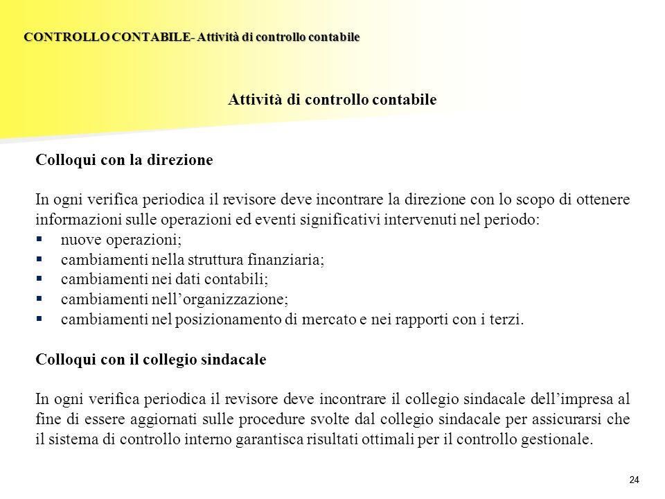24 Attività di controllo contabile Colloqui con la direzione In ogni verifica periodica il revisore deve incontrare la direzione con lo scopo di otten