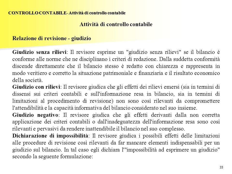 33 Attività di controllo contabile Relazione di revisione - giudizio Giudizio senza rilievi: Il revisore esprime un