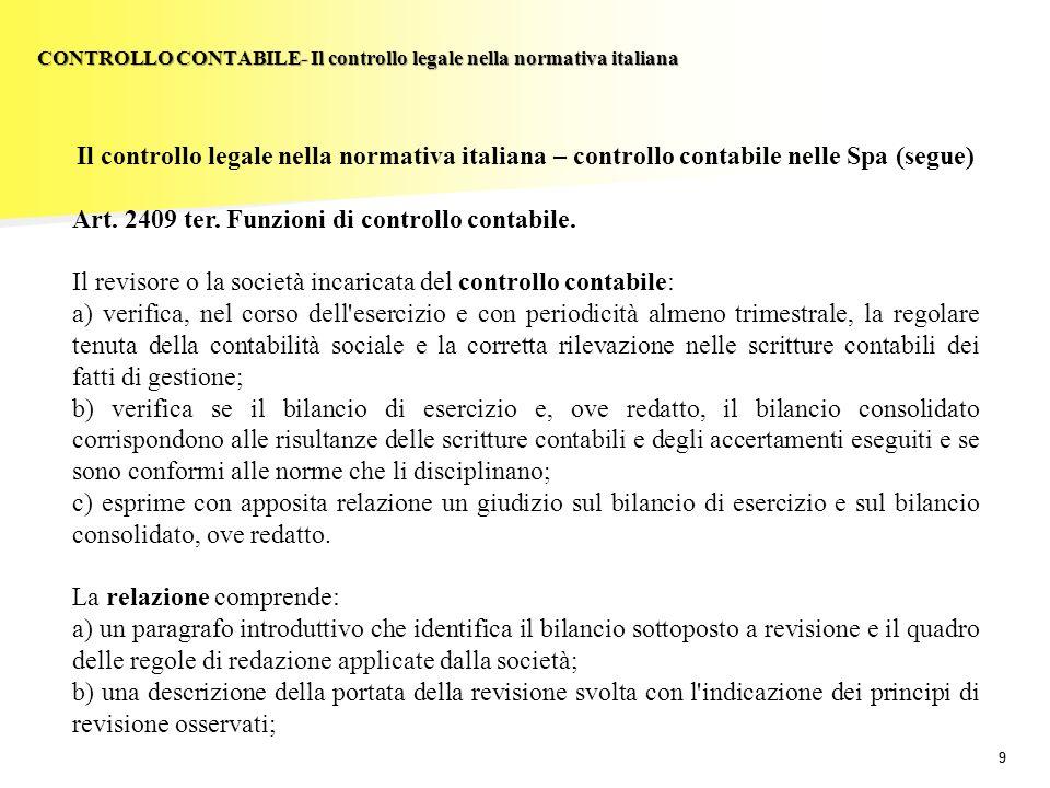 99 Il controllo legale nella normativa italiana – controllo contabile nelle Spa (segue) Art. 2409 ter. Funzioni di controllo contabile. Il revisore o