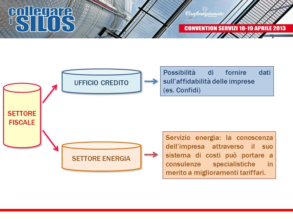 SETTORE FISCALE UFFICIO CREDITO SETTORE ENERGIA Servizio energia: la conoscenza dellimpresa attraverso il suo sistema di costi può portare a consulenz