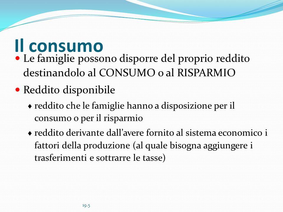 19.6 Il consumo e il reddito disponibile in Italia, 1982-1999 Il reddito è una forte determinante del consumo ma non è la sola.