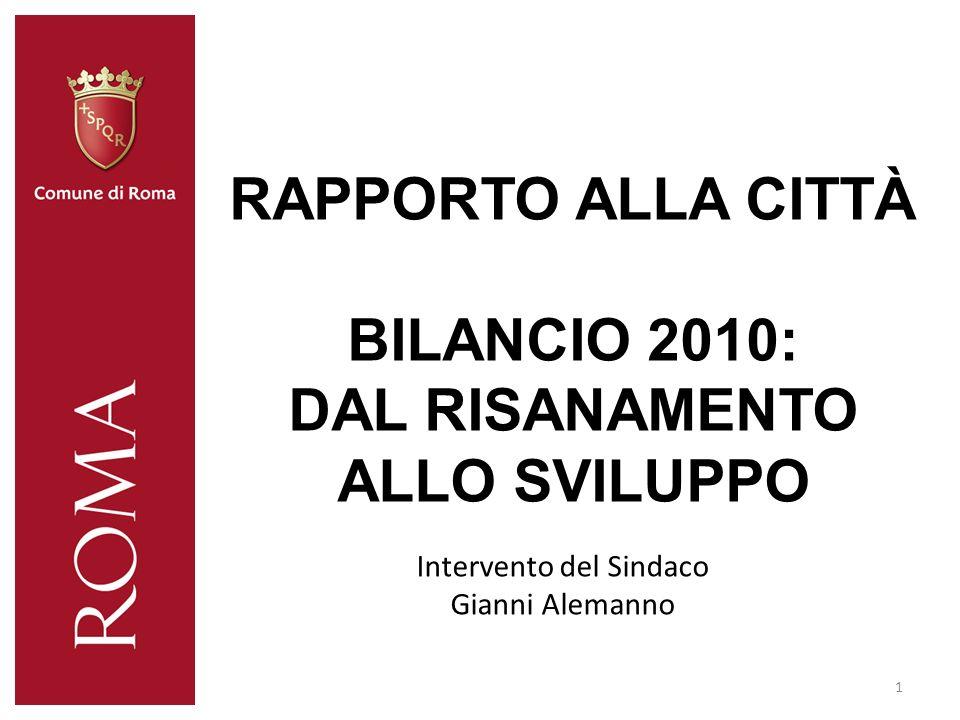 RAPPORTO ALLA CITTÀ BILANCIO 2010: DAL RISANAMENTO ALLO SVILUPPO 1 Intervento del Sindaco Gianni Alemanno