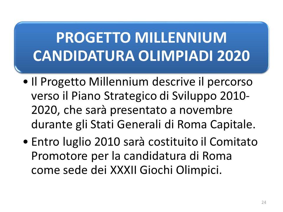 PROGETTO MILLENNIUM CANDIDATURA OLIMPIADI 2020 Il Progetto Millennium descrive il percorso verso il Piano Strategico di Sviluppo 2010- 2020, che sarà presentato a novembre durante gli Stati Generali di Roma Capitale.
