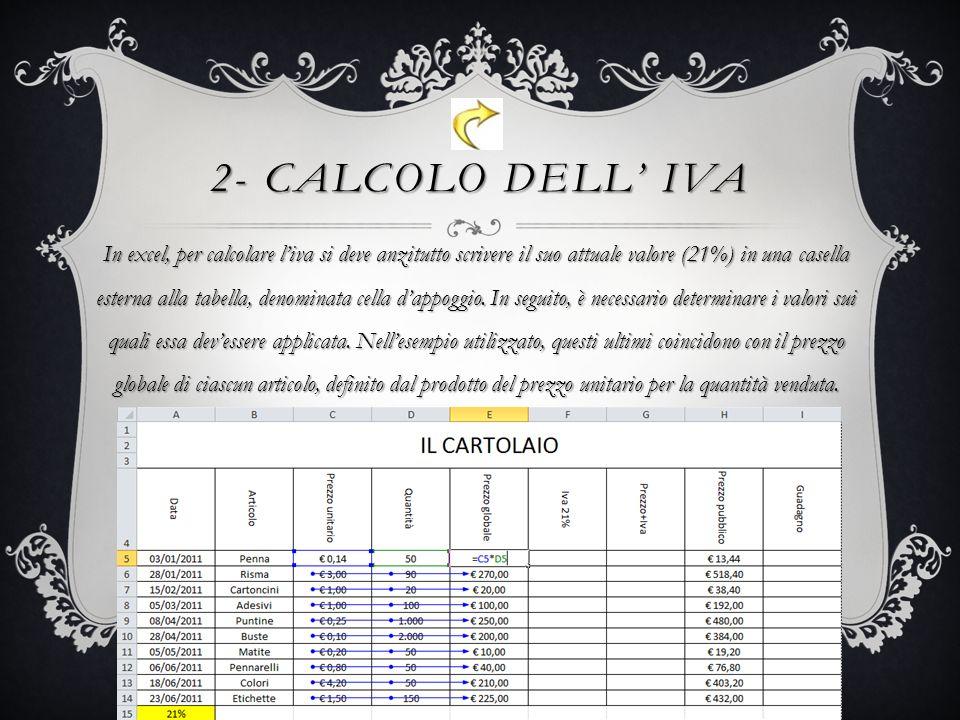 2- CALCOLO DELL IVA In excel, per calcolare liva si deve anzitutto scrivere il suo attuale valore (21%) in una casella esterna alla tabella, denominata cella dappoggio.