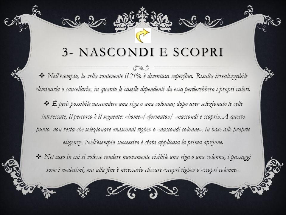 3- NASCONDI E SCOPRI Nellesempio, la cella contenente il 21% è diventata superflua.