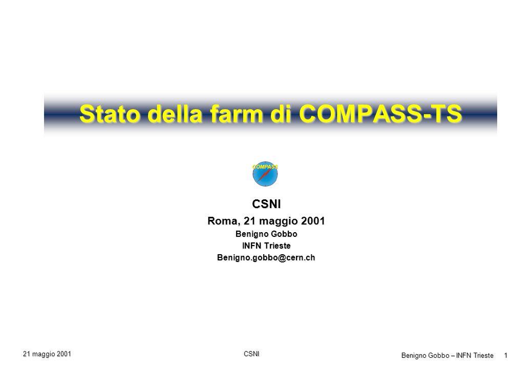 CSNI Benigno Gobbo – INFN Trieste 12 21 maggio 2001 Completamento della farm (continuazione) Costi Costi PC Client: 2xPIII 800-866 MHz, 2x 30GB EIDE, 256 MB RAM, 100baseT Costo: 57 MITL + IVA Completamento Sun: CPU + disco 18 GB SCSI Costo: 16 MITL + 2.7 MITL = 18.7 MITL + IVA IBM Tape Library Ultrium 2 drive Costo: 65 MITL + IVA Sistema disco 1 TB Costo: 90 MITL + IVA Altro: Modulo 1000baseSX per 3com, 1000baseSX adapter, cavi KVM Costo: 4 MITL + IVA Totale: 280 MITL IVA compresa ( 145 k ) Per saperne di più: Per saperne di più: www.ts.infn.it/acid acid@ts.infn.it