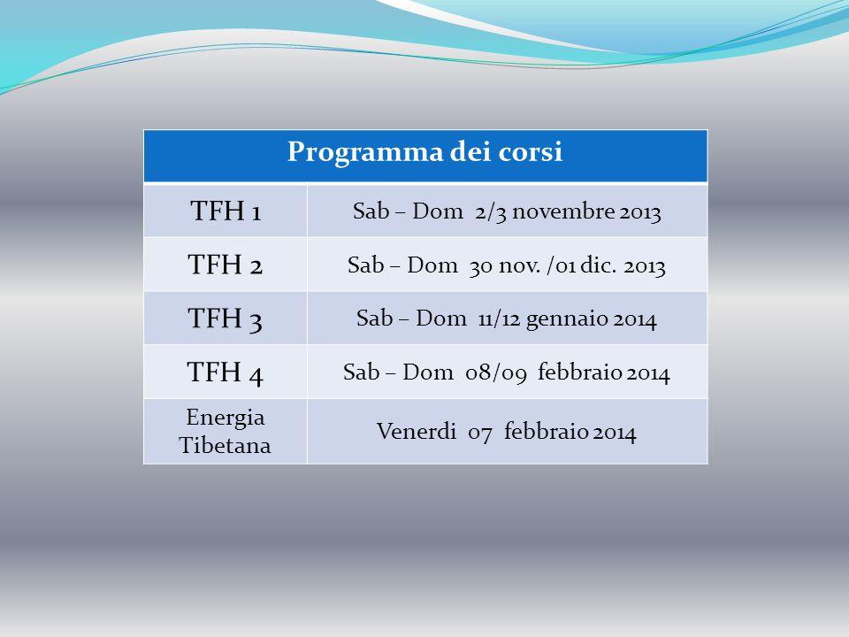 Programma dei corsi TFH 1 Sab – Dom 2/3 novembre 2013 TFH 2 Sab – Dom 30 nov. /01 dic. 2013 TFH 3 Sab – Dom 11/12 gennaio 2014 TFH 4 Sab – Dom 08/09 f
