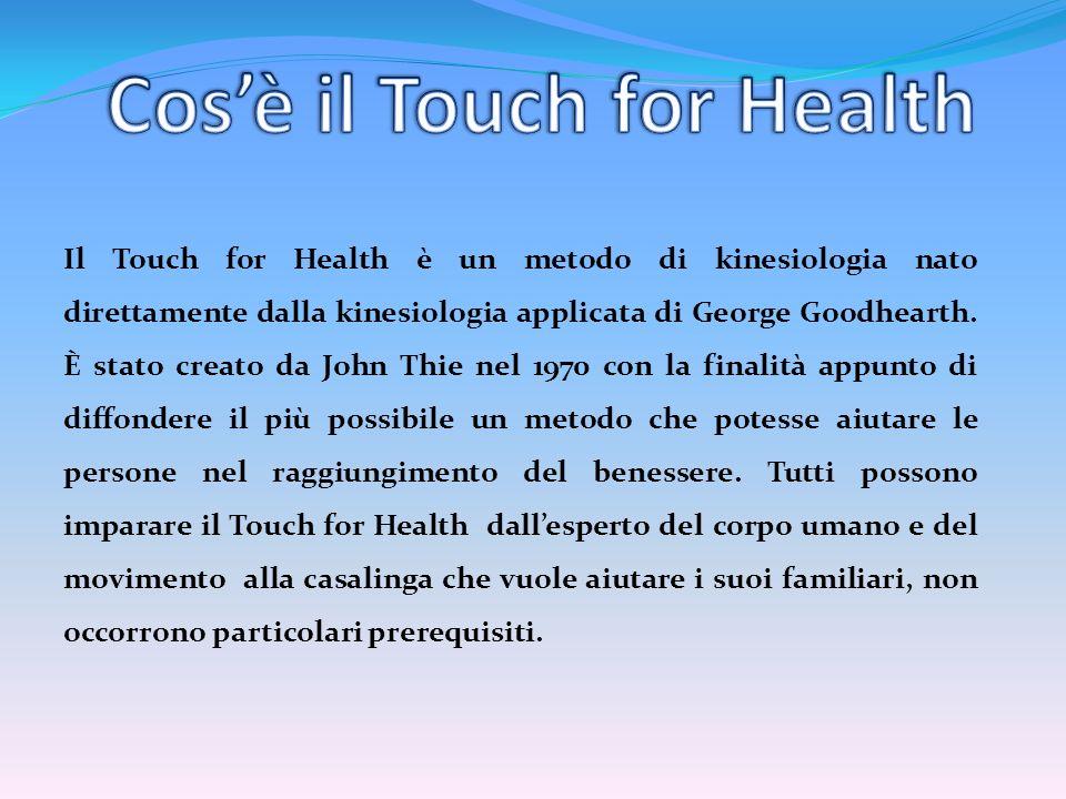Il Touch for Health è un metodo di kinesiologia nato direttamente dalla kinesiologia applicata di George Goodhearth. È stato creato da John Thie nel 1