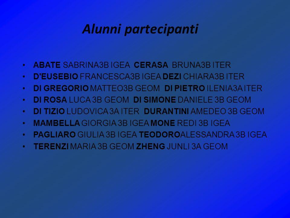 Alunni partecipanti ABATE SABRINA3B IGEA CERASA BRUNA3B ITER D'EUSEBIO FRANCESCA3B IGEA DEZI CHIARA3B ITER DI GREGORIO MATTEO3B GEOM DI PIETRO ILENIA3
