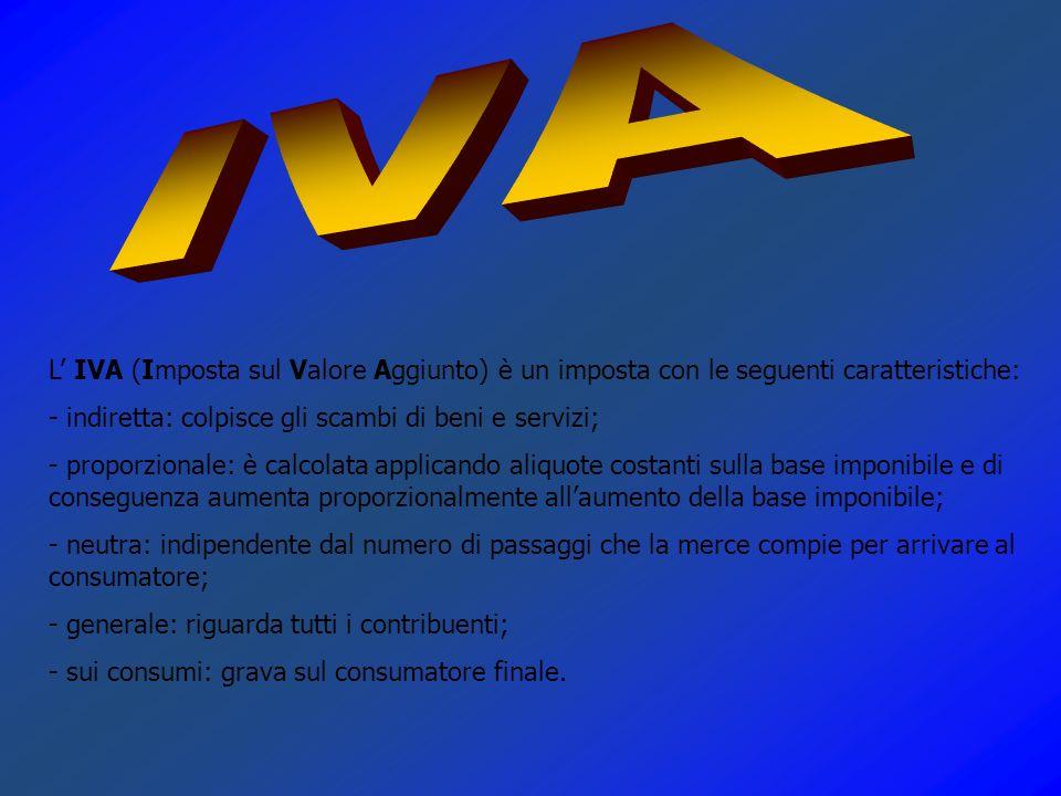 L IVA (Imposta sul Valore Aggiunto) è un imposta con le seguenti caratteristiche: - indiretta: colpisce gli scambi di beni e servizi; - proporzionale: