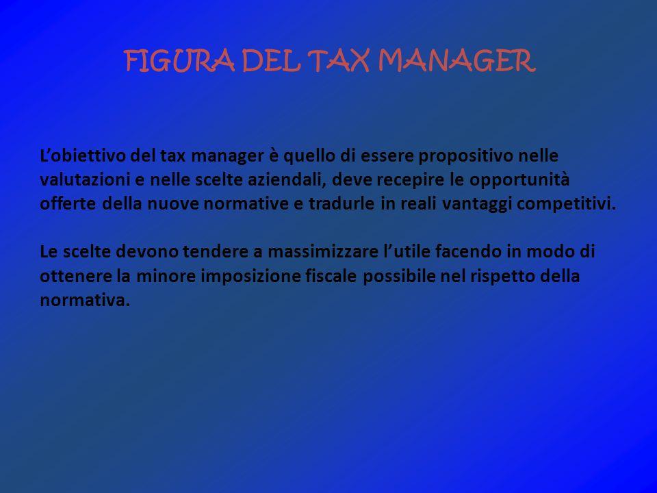 FIGURA DEL TAX MANAGER Lobiettivo del tax manager è quello di essere propositivo nelle valutazioni e nelle scelte aziendali, deve recepire le opportunità offerte della nuove normative e tradurle in reali vantaggi competitivi.