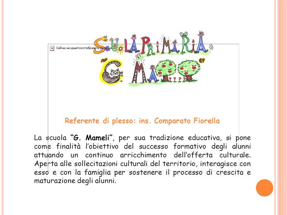 Referente di plesso: ins. Comparato Fiorella La scuola G. Mameli, per sua tradizione educativa, si pone come finalità lobiettivo del successo formativ