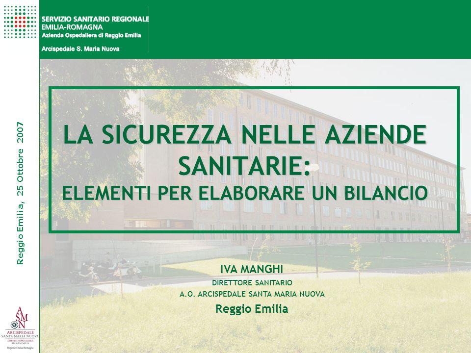 Reggio Emilia, 25 Ottobre 2007 IVA MANGHI DIRETTORE SANITARIO A.O. ARCISPEDALE SANTA MARIA NUOVA Reggio Emilia LA SICUREZZA NELLE AZIENDE SANITARIE: E