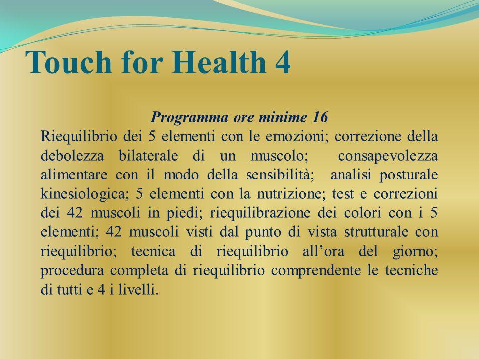Touch for Health 4 Programma ore minime 16 Riequilibrio dei 5 elementi con le emozioni; correzione della debolezza bilaterale di un muscolo; consapevo