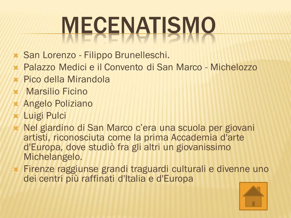 San Lorenzo - Filippo Brunelleschi. Palazzo Medici e il Convento di San Marco - Michelozzo Pico della Mirandola Marsilio Ficino Angelo Poliziano Luigi