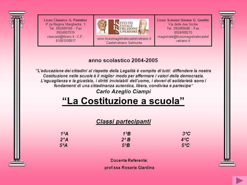 Liceo Classico G. Pantaleo P.za Regina Margherita, 1 Tel. 092489100 - Fax 0924907519 clascast@libero.it - C.F.: 81001930817 www.liceomagistralecastelv