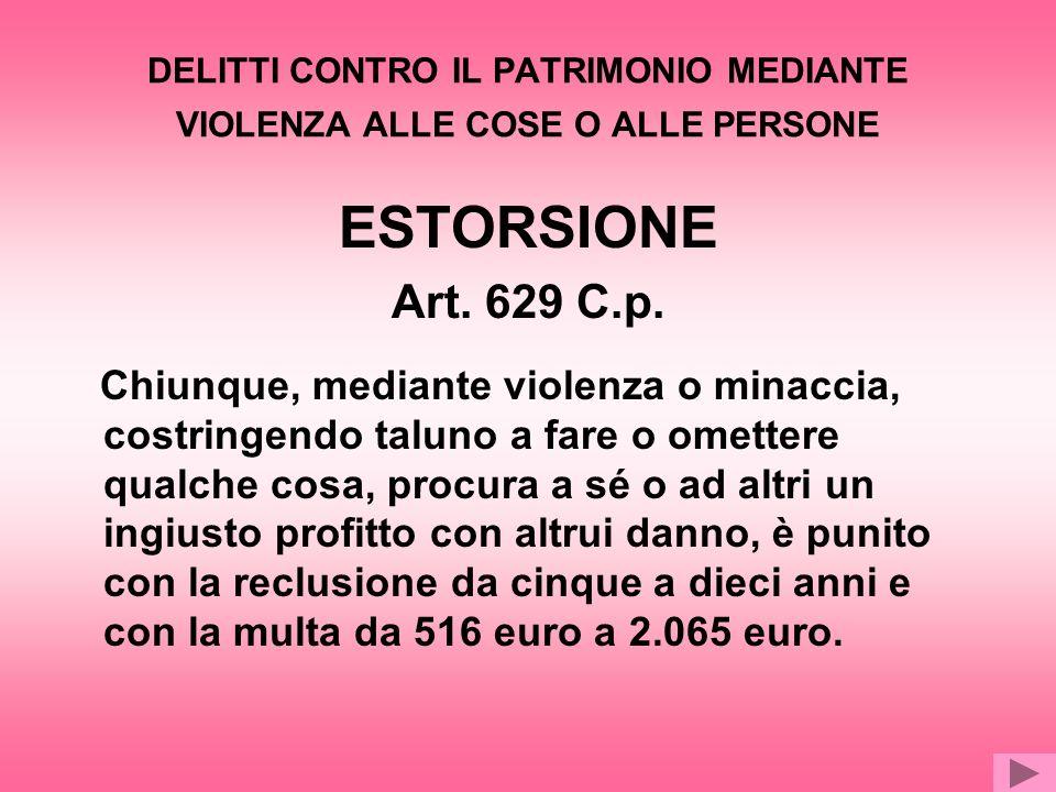 INTERESSI TUTELATI INVIOLABILITA DEL PATRIMONIO LIBERTA DI DETERMINAZIONE PERSONALE
