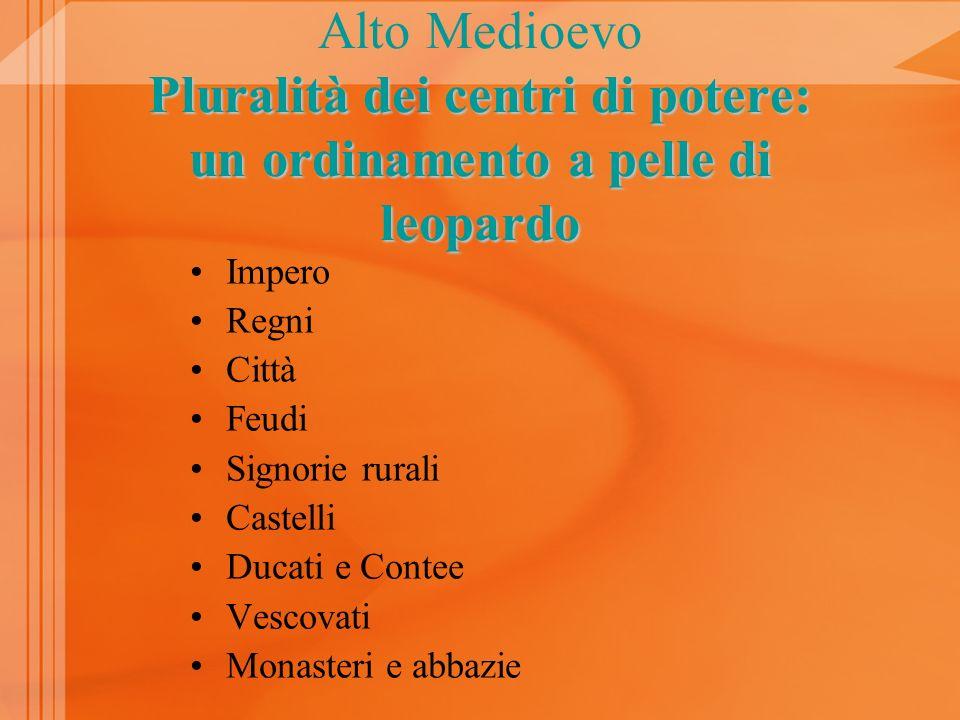 Alto Medioevo Pluralità dei centri di potere: un ordinamento a pelle di leopardo Impero Regni Città Feudi Signorie rurali Castelli Ducati e Contee Vescovati Monasteri e abbazie