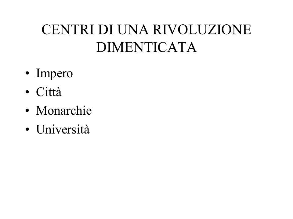CENTRI DI UNA RIVOLUZIONE DIMENTICATA Impero Città Monarchie Università