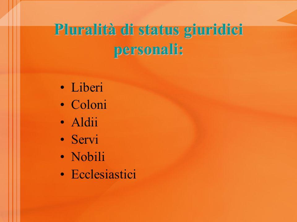 Pluralità di status giuridici personali: Liberi Coloni Aldii Servi Nobili Ecclesiastici