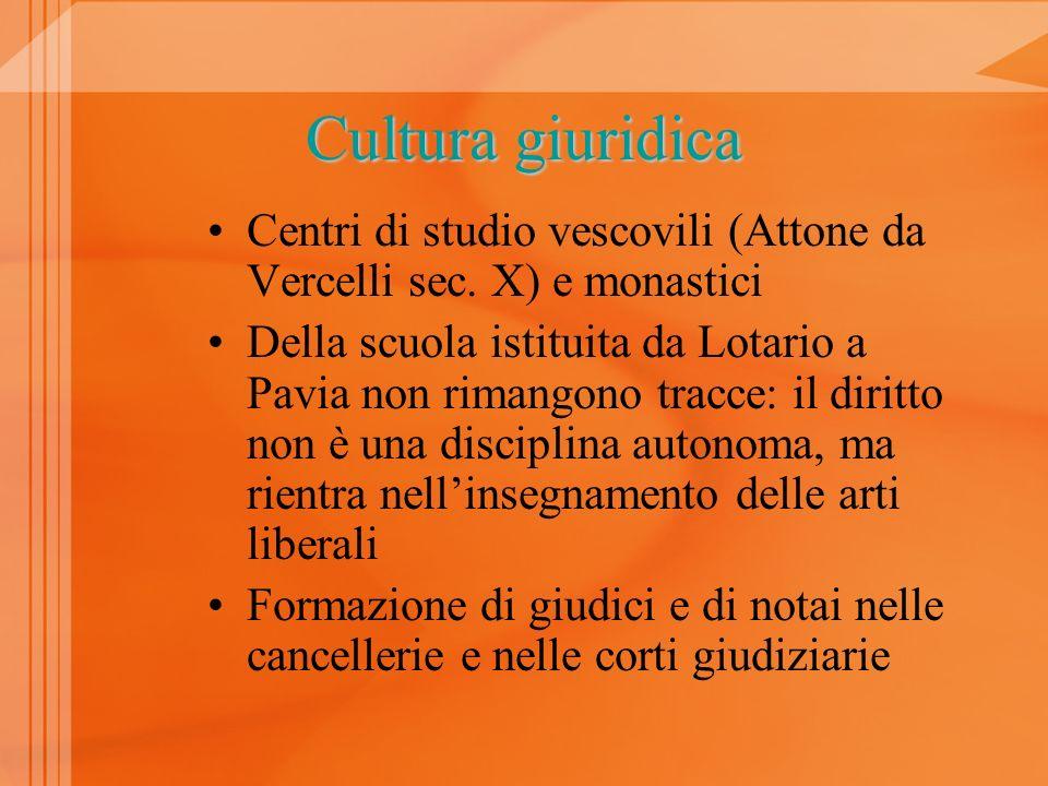 Cultura giuridica XI secolo: scuola di Pavia –L–Liber Papiensis (post 1054) –L–Lombarda (1070) –E–Expositio ad librum papiensem (1070)